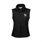 Ladies Fleece Full Zip Black Vest-Yellow Jacket