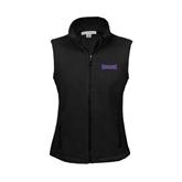 Ladies Fleece Full Zip Black Vest-Defiance
