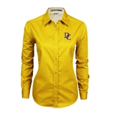 Ladies Gold Twill Button Down Long Sleeve-Interlocking DC