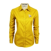 Ladies Gold Twill Button Down Long Sleeve-Yellow Jacket