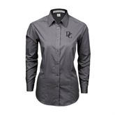 Ladies Grey Tonal Pattern Long Sleeve Shirt-Interlocking DC