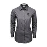Ladies Grey Tonal Pattern Long Sleeve Shirt-Interlocking DC