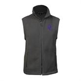 Fleece Full Zip Charcoal Vest-Interlocking DC