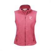 Ladies Fleece Full Zip Raspberry Vest-Interlocking DC