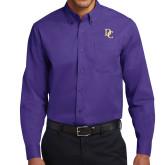 Purple Twill Button Down Long Sleeve-Interlocking DC