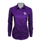 Ladies Purple Twill Button Down Long Sleeve-Yellow Jacket