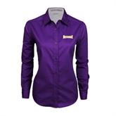Ladies Purple Twill Button Down Long Sleeve-Defiance