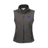 Ladies Fleece Full Zip Charcoal Vest-Interlocking DC