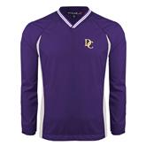 Colorblock V Neck Purple/White Raglan Windshirt-Interlocking DC