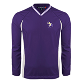 Colorblock V Neck Purple/White Raglan Windshirt-Yellow Jacket