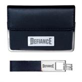 Business Card Case and Key Ring Set Black-Defiance Engraved