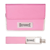 Business Card Case and Key Ring Set Pink-Defiance Engraved