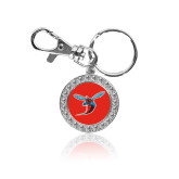 Crystal Studded Round Key Chain-Delaware State Hornets w/Hornet