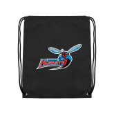 Nylon Black Drawstring Backpack-Delaware State Hornets w/Hornet
