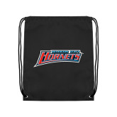 Nylon Black Drawstring Backpack-Delaware State Hornets