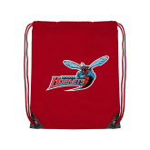 Nylon Red Drawstring Backpack-Delaware State Hornets w/Hornet