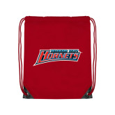 Nylon Red Drawstring Backpack-Delaware State Hornets