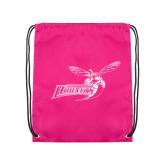 Nylon Pink Drawstring Backpack-Delaware State Hornets w/Hornet