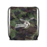 Nylon Camo Drawstring Backpack-Delaware State Hornets w/Hornet