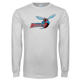 White Long Sleeve T Shirt-Delaware State Hornets w/Hornet Distressed