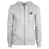 ENZA Ladies White Fleece Full Zip Hoodie-Delaware State Hornets w/Hornet