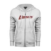 ENZA Ladies White Fleece Full Zip Hoodie-Hornets