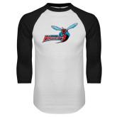 White/Black Raglan Baseball T-Shirt-Delaware State Hornets w/Hornet