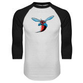 White/Black Raglan Baseball T-Shirt-Hornet