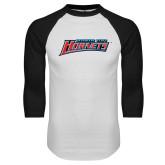 White/Black Raglan Baseball T-Shirt-Delaware State Hornets