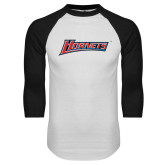 White/Black Raglan Baseball T-Shirt-Hornets