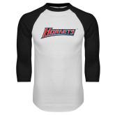 White/Black Raglan Baseball T-Shirt-Hornets