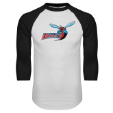 White/Black Raglan Baseball T-Shirt-Delaware State Hornets w/Hornet Distressed