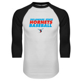 White/Black Raglan Baseball T-Shirt-Baseball Text Design