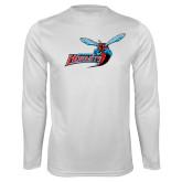 Performance White Longsleeve Shirt-Delaware State Hornets w/Hornet