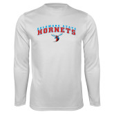 Syntrel Performance White Longsleeve Shirt-Arched Delaware State Hornets w/Hornet