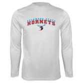 Performance White Longsleeve Shirt-Arched Delaware State Hornets w/Hornet