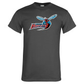 Charcoal T Shirt-Delaware State Hornets w/Hornet Distressed