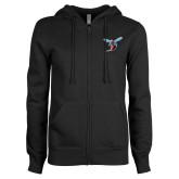 ENZA Ladies Black Fleece Full Zip Hoodie-Hornet