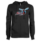 ENZA Ladies Black Fleece Full Zip Hoodie-Delaware State Hornets w/Hornet