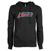 ENZA Ladies Black Fleece Full Zip Hoodie-Delaware State Hornets
