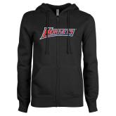 ENZA Ladies Black Fleece Full Zip Hoodie-Hornets