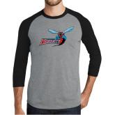 Grey/Black Tri Blend Baseball Raglan-Delaware State Hornets w/Hornet