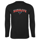 Performance Black Longsleeve Shirt-Delaware State University w/Hornet