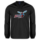 V Neck Black Raglan Windshirt-Delaware State Hornets w/Hornet