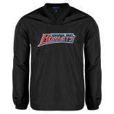 V Neck Black Raglan Windshirt-Delaware State Hornets