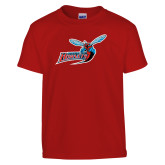 Youth Red T Shirt-Delaware State Hornets w/Hornet