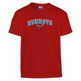 Youth Red T Shirt-Arched Delaware State University w/Hornet