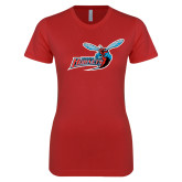 Next Level Ladies SoftStyle Junior Fitted Red Tee-Delaware State Hornets w/Hornet