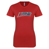 Next Level Ladies SoftStyle Junior Fitted Red Tee-Delaware State Hornets
