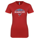 Next Level Ladies SoftStyle Junior Fitted Red Tee-Basketball Ball Design